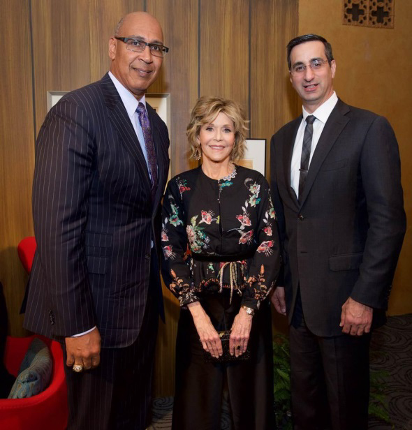 Assemblyman Holden with Jane Fonda and Pasadena Playhouse Board President David DiCristofaro