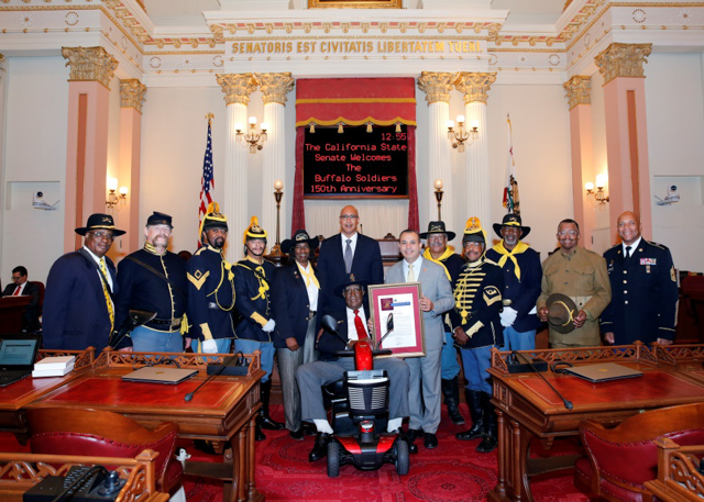 Assemblyman Holden with Buffalo Soldiers on the Senate floor