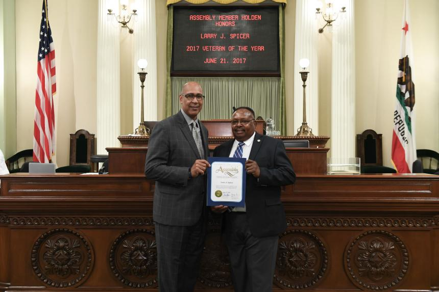 Assemblymember Holden with Larry Spicer on Assembly Floor